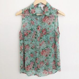 Ambiance Apparel Floral Semi Sheer Button Down Top